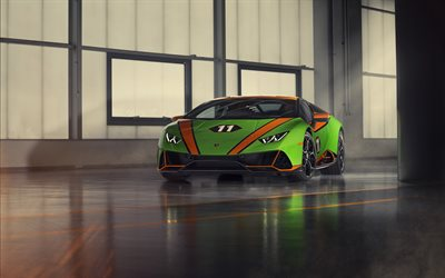 2019, Lamborghini Huracan, EVO GT Celebration, green supercar, front view, green sports coupe, tuning Huracan, Italian sports cars, Lamborghini