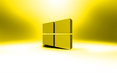 Windows 10 logo amarillo, creativo, OS, amarillo, abstracto, antecedentes, Windows 10 en 3D logotipo, marcas, Windows 10 logotipo, imágenes, Windows 10
