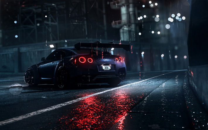 Download Wallpapers 4k Nissan Gt R Night R35 Supercars 2019 Cars Black Gt R Tuning Japanese Cars Nissan For Desktop Free Pictures For Desktop Free