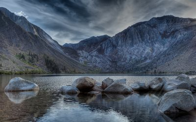 Mount Morriso, 4k, syksy, Convict Lake, HDR, California, USA, Amerikassa