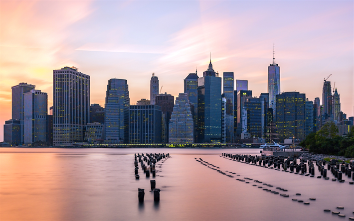 4k, Manhattan, old pier, skyscrapers, New York, USA, America, NYC