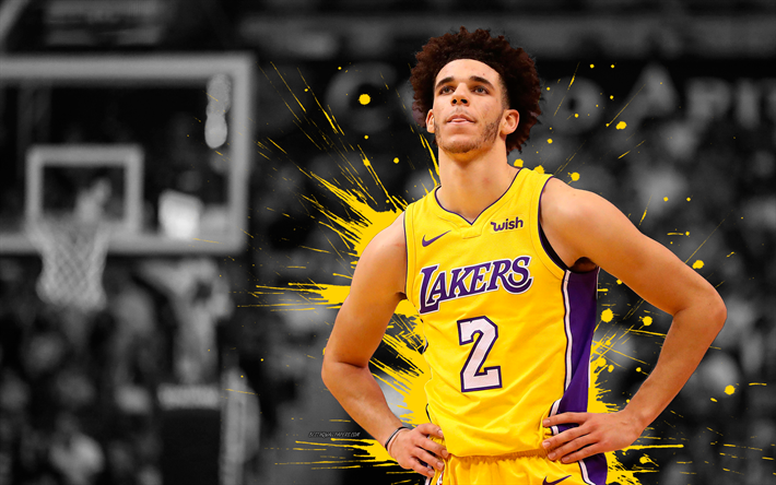 Lonzo Ball 4k Basketball Players NBA Los Angeles Lakers Grunge