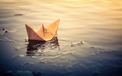 yellow paper boat, lake, origami, paper figurines