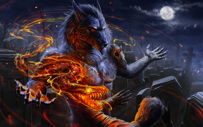 Werewolf, dragon, monsters, darkness