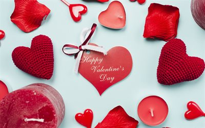 Happy Valentines Day, romantic holiday, red hearts, red candles, rose petals