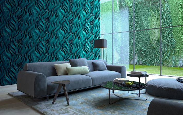Living Room, 4k, Green Interior, Modern Apartment, 3d Panel, Sofa,