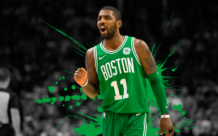 Kyrie Irving 4k Basketball Players NBA Boston Celtics Grunge