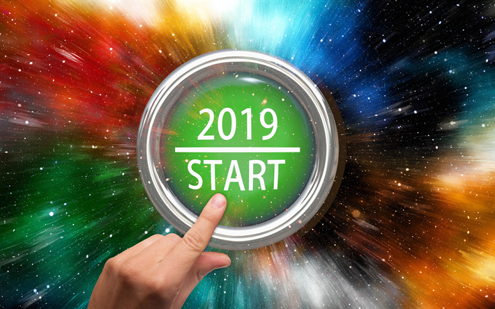 Start 2019, big button, 2019 concepts, Happy New Year, creative, 2019 button