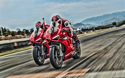 4k, Ducati Panigale V4 R, raceway, 2019 bikes, HDR, red motorcycle, new Panigale, Ducati