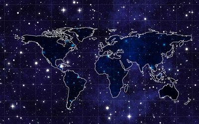 blue world map, starry sky, world map concept, art, creative, world map on blue background, world maps