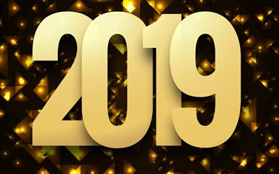 Happy New Year 2019, golden 2019 background, creative art, golden letters