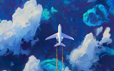 flying plane, artwork, white plane, sky, clouds, private jet