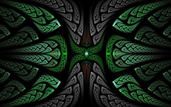 Scarica Sfondi Frattali Verde E Nero 3d Arte Floreale Modello