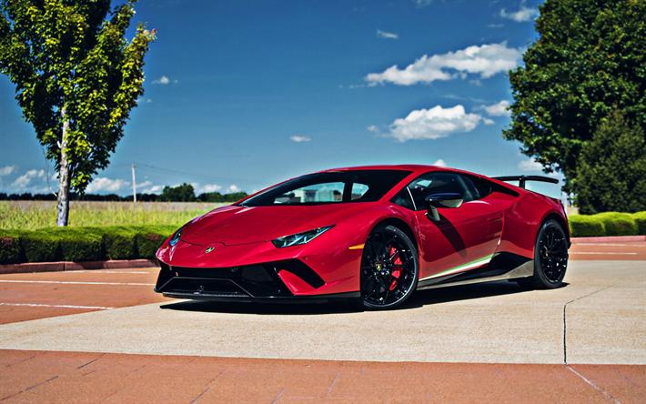 Download wallpapers Lamborghini Huracan Performante, red