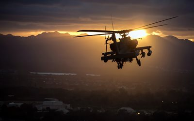 McDonnell Douglas AH-64 Apache, American attack helicopter, sky, sunset, USAF, military helicopters, AH-64 Apache, USA