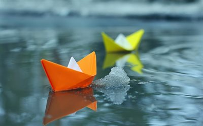 paper boats, water, ice, leadership concepts, origami
