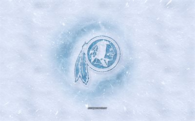 Washington Redskins logo, American football club, winter concepts, NFL, Washington Redskins ice logo, snow texture, Washington, USA, snow background, Washington Redskins, American football