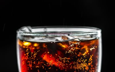 Coca-Cola, 4k, bokeh, glass with drink, cool drinks, Glass with Coca-Cola