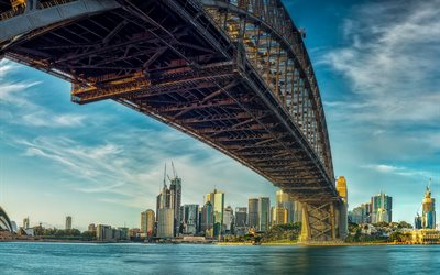 Sydney Harbour Bridge, Sydney, Port Jackson Bay, kväll, sunset, metall suspension bridge, Sydney Harbour, Australien
