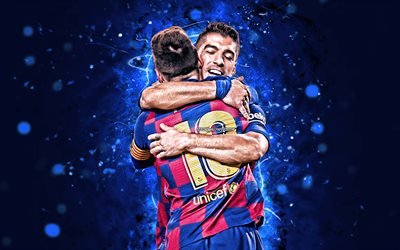 Lionel Messi, Luis Suarez, 4k, Barcelona FC, footballers, FCB, Messi and Suarez, football stars, La Liga, Leo Messi, LaLiga, Spain, neon lights, Barca, soccer, Messi