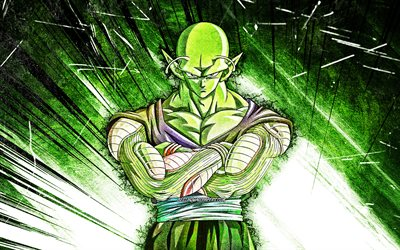 4k, Piccolo, DBS, grunge art, Dragon Ball, warrior, Dragon Ball Super, green abstract rays, DBS characters, Piccolo DBS