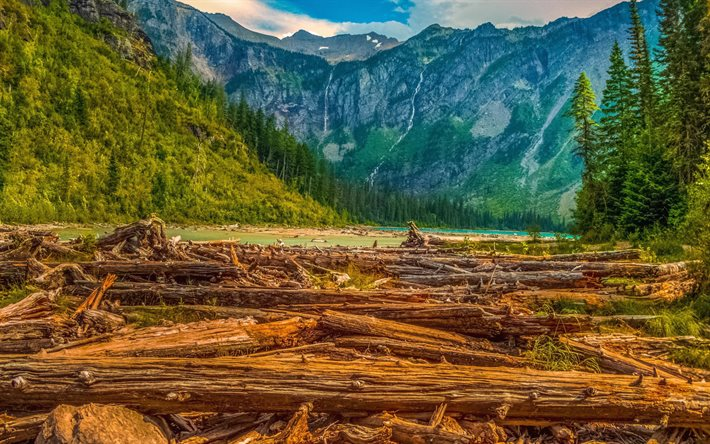 Glacier National Park, HDR, mountain landscape, evening, mountain lake, forest, fallen trees, Montana, USA