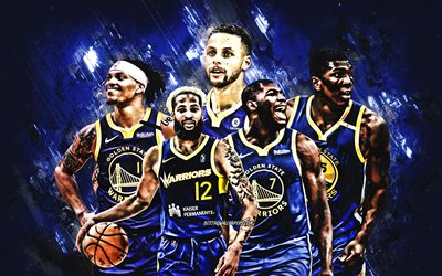 Golden State Warriors, American basketball club, NBA, blue stone background, basketball, USA, Stephen Curry, James Wiseman, Jordan Poole