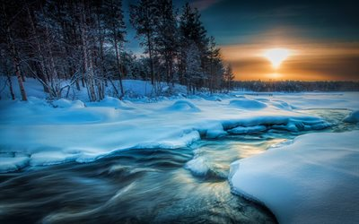 Lapland, 4k, snowdrifts, winter, sunset, river, beautiful nature, Europe, Finland, HDR