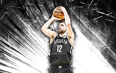 4k, Joe Harris, grunge art, Brooklyn Nets, NBA, basketball, Joseph Malcolm Harris, Joe Harris Brooklyn Nets, white abstract rays, Joe Harris 4K