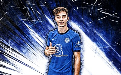 4k, Kai Havertz, grunge art, Chelsea FC, german footballers, Premier League, Kai Lukas Havertz, soccer, Kai Havertz Chelsea, football, blue abstract rays, Kai Havertz 4K
