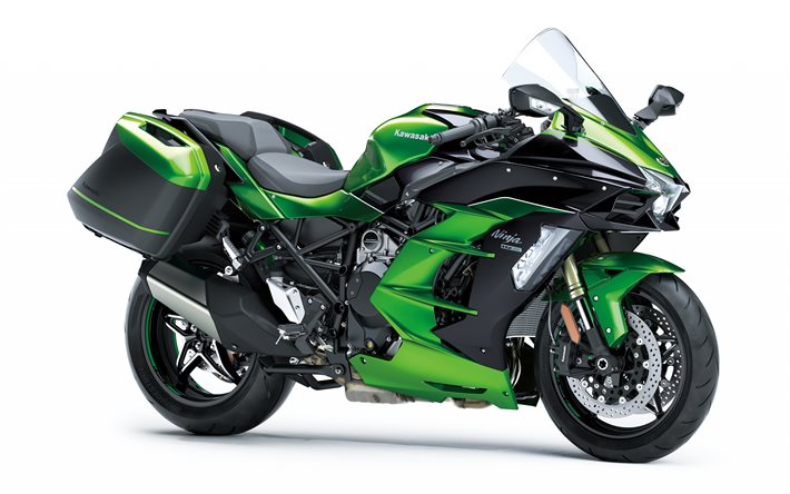 Kawasaki Ninja H2 SX, 2020, exterior, side view, new green Ninja H2 SX, japanese cars, Kawasaki