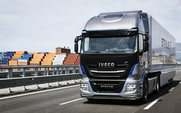 Download wallpapers Iveco Stralis XP NP, 2016, truck of the year, new trucks, highway for ...