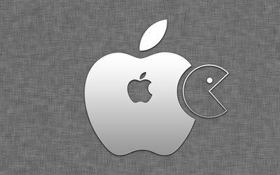 Pac-Man, Apple logo, art, creative, Apple
