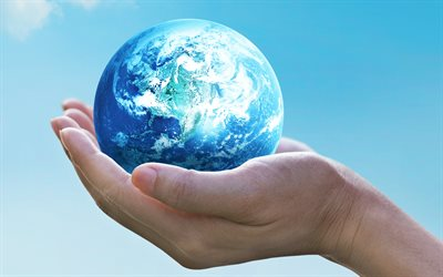 Save the Earth, ecology, 4k, environment, planet in hands, ecology concepts, blue sky, Earth