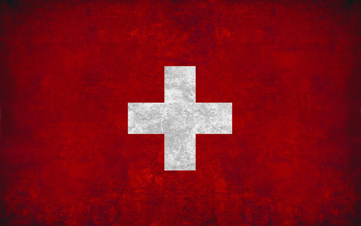 Flag of Switzerland, grunge style, wall, Swiss flag, creative art, Switzerland