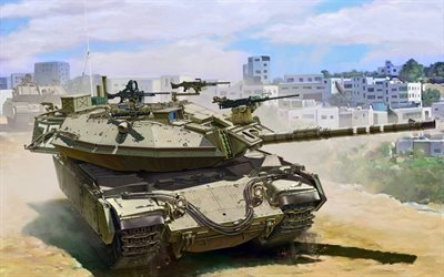 Magach 6B, Магах-6B, Israeli army, American tank, armored vehicles, drawing, Israel