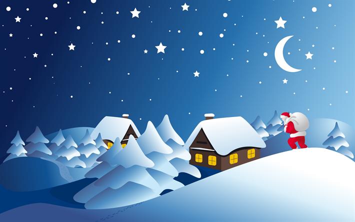Sfondi Invernali Natalizi.Scarica Sfondi Invernali Natale Babbo Natale Neve Inverno