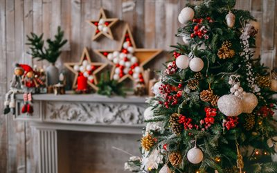 Christmas tree, festive interior, fireplace, scenery, New Year, Christmas