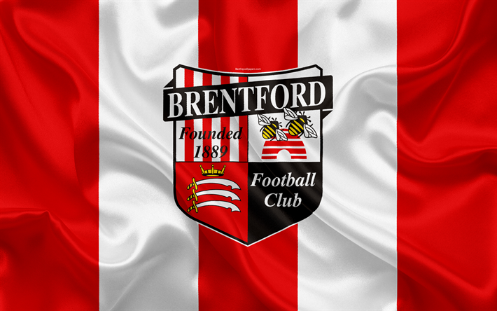 Download Wallpapers Brentford Fc Silk Flag Emblem Logo