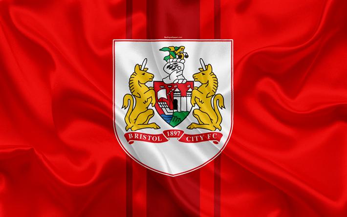 Download Wallpapers Bristol City Fc Silk Flag Emblem Logo