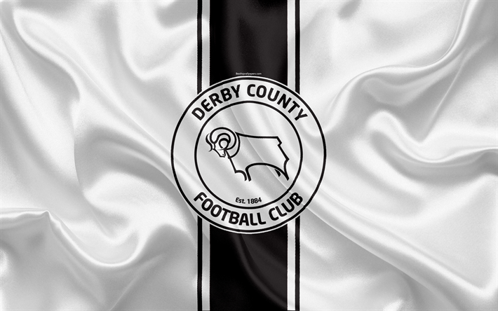 Download Wallpapers Derby County FC, White Silk Flag