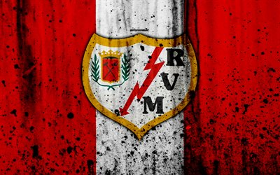 Download wallpapers 4k FC Rayo Vallecano grunge Segunda