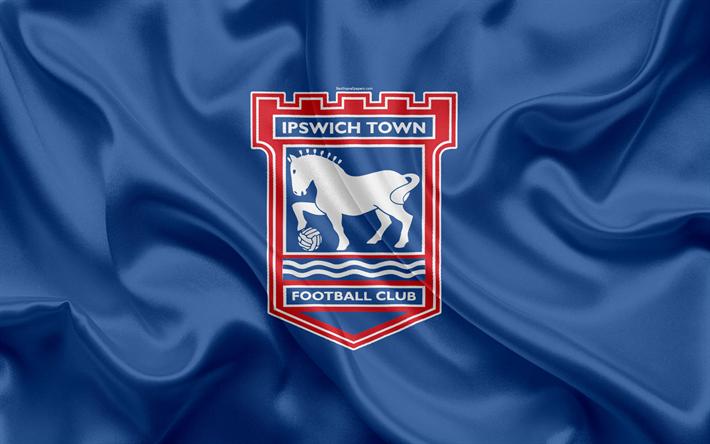 Download Wallpapers Ipswich Town FC, Silk Flag, Emblem