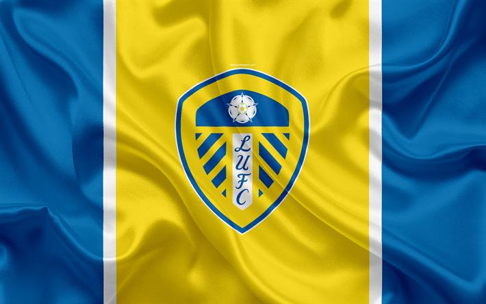 Download Wallpapers Leeds United FC, Silk Flag, Emblem