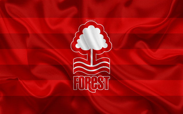 Download Wallpapers Nottingham Forest FC, Red Silk Flag