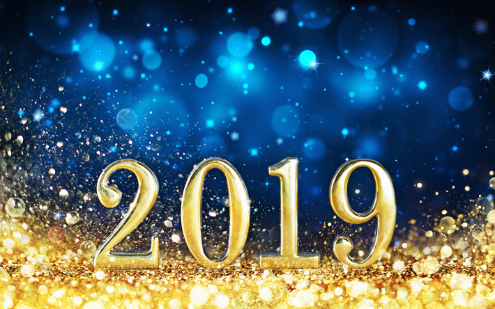 Download wallpapers 4k, Happy New Year 2019, golden digits, blue