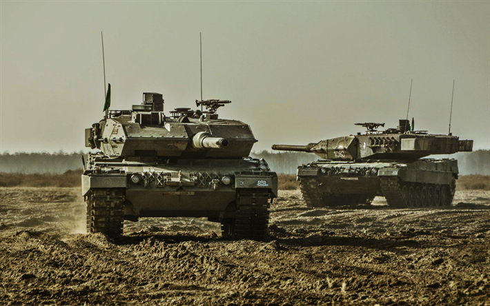 Leopard 2, two tanks, german MBT, tanks, shooting range, Bundeswehr, German army, armored vehicles