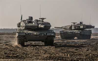 Leopard 2A7, Bundeswehr, German battle tanks, training ground, German army, tanks, modern armored vehicles, Germany