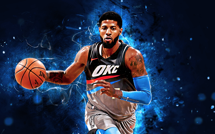 Paul George, OKC, basketball stars, NBA, Oklahoma City Thunder, abstract art