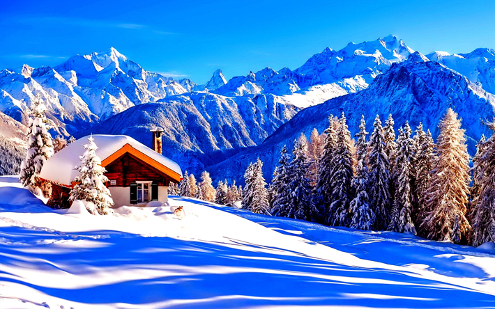 Download imagens 4k alpes inverno montanhas cabana for Immagini inverno sfondi